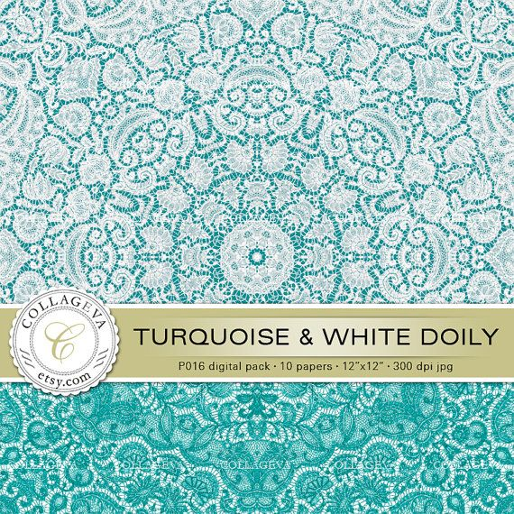 "Turquoise & White Doily (P016) Digital Paper Pack, 10 printable images, 12""x12"", Point-lace, Crochet, Doily, Wall art, Wedding invitations by collageva"