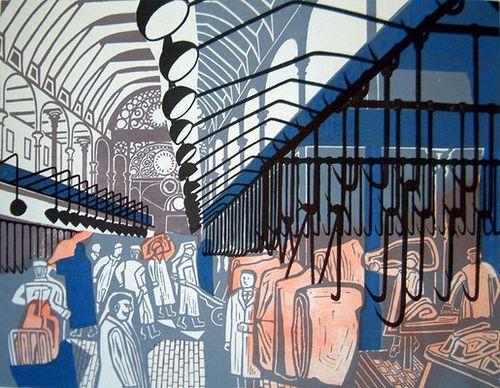 Edward Bawden. Smithfield Market, 1967 Lithograph after linocut from the series 'Six London Markets' osbornesamuel by peacay, via Flickr