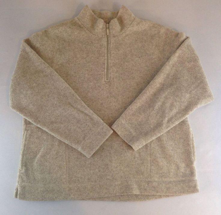 LL BEAN Women's XL 1/4 Zip Fleece Pullover Long Sleeve Beige in Color #LLBean #FleecePullover