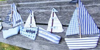 QuiltBee: Fabric sailboats Made from Men's shirt collars - sewing or craft project
