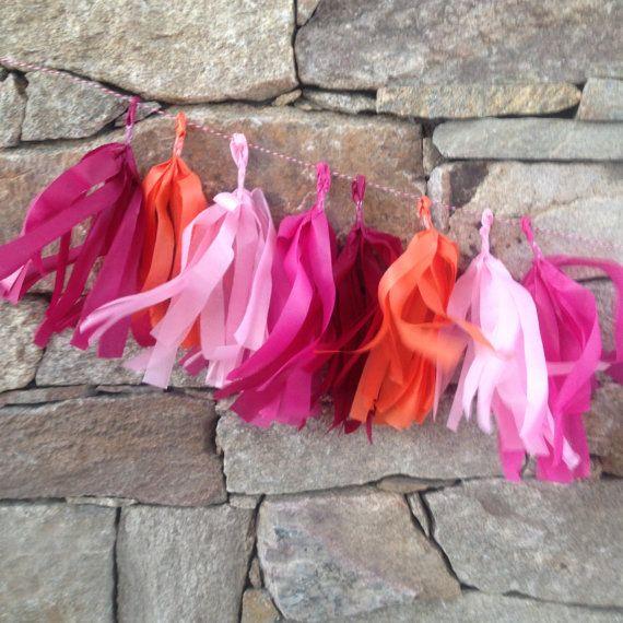 Pink Plum Orange Tissue Tassel Garland 2m by DesignMyPartyShop
