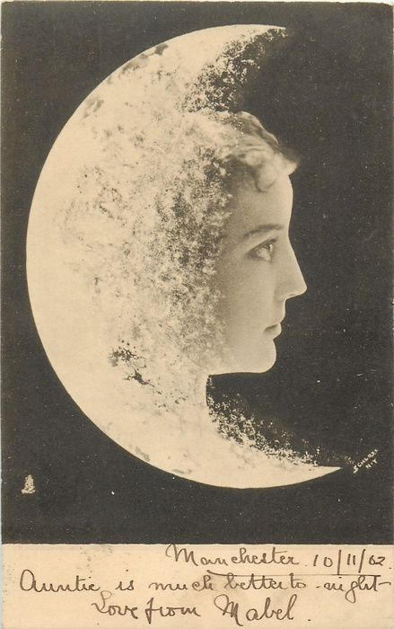woman's face to right of moon, faces & looks right, fantasy composition 1902 postcard.
