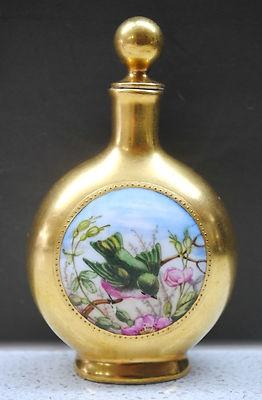 C.1880 Antique Coalport gilded twin bird cartouche lidded perfume bottle #1/3