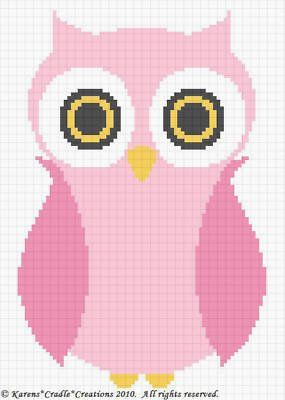 Crochet Patterns - OWL Baby Girl Afghan Pattern *EASY (Could also be made into a cross stitch pattern!)