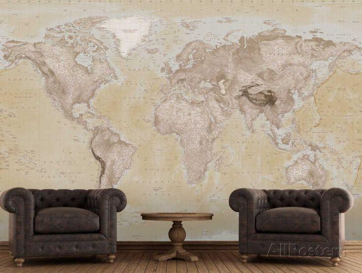 2015 Neutral Map Wallpaper Mural Papier peint sur AllPosters.fr