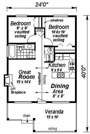 First Floor Plan of Country   Narrow Lot   House Plan 58509