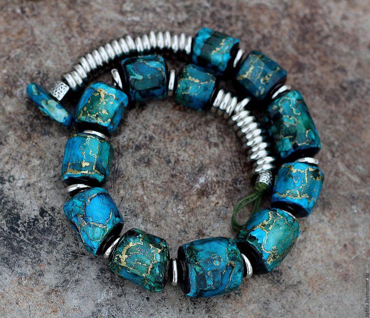 Купить колье из полимерной глина винтажные мечты 4 - морская волна, бирюза, зеленый, винтаж