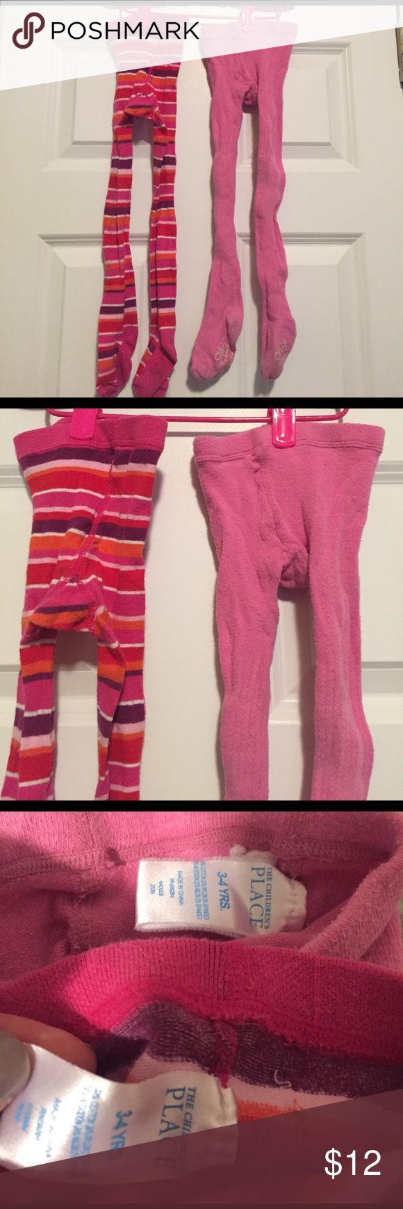 Lot of 2 Winter Tights- Children's Place Lot of 2 Children's Place winter tights- stripe and pink cable. Size 3-4. Children's Place Accessories Socks & Tights