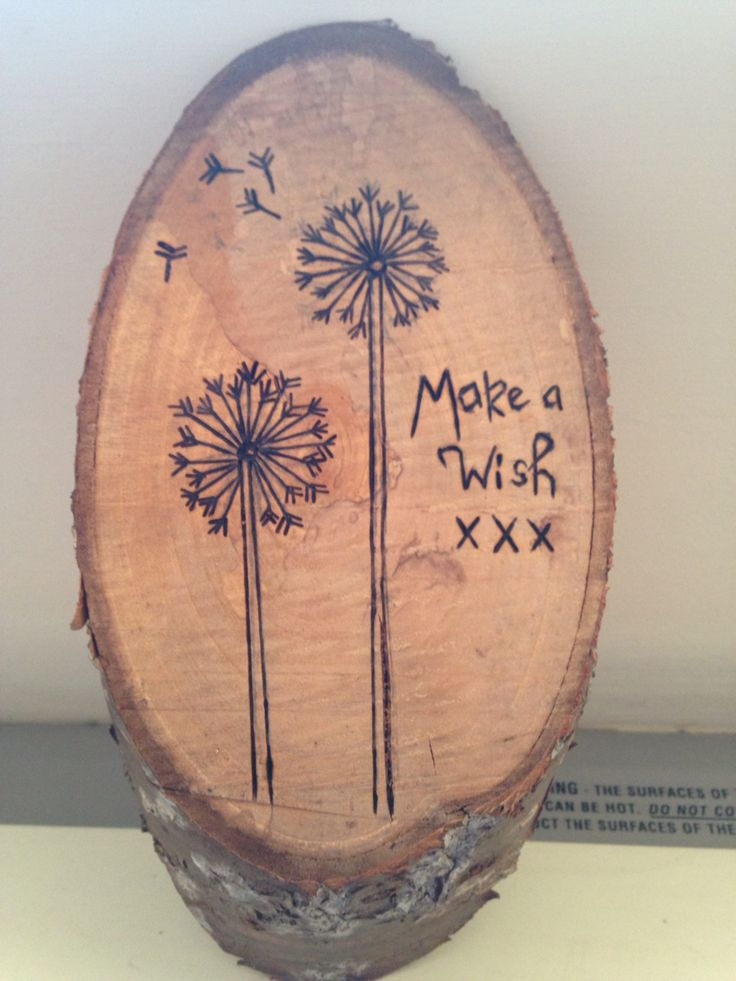 """Pyrography dandelion """"make a wish"""""""