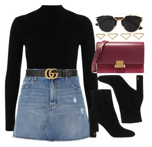"""""""#13838"""" by vany-alvarado ❤ liked on Polyvore featuring River Island, Gucci, Yves Saint Laurent, Christian Dior and Ana Khouri"""