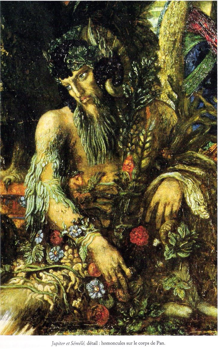 """PAN by Gustave Moreau 1894. PAN was the god of shepherds and flocks, of mountain wilds, hunting and rustic music. He wandered the hills and mountains of Arkadia playing his pan-pipes and chasing Nymphs. He appears as a man with the horns, legs and tail of a goat, a thick beard, snub nose and pointed ears. He often appears in the retinue of Dionysos & other rustic gods. Most believed his name being the Greek pan meaning """"all"""". However, it true origin is the Arkadian word for rustic."""