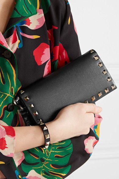 Valentino - The Rockstud Wristlet Leather Wallet - Black - one size