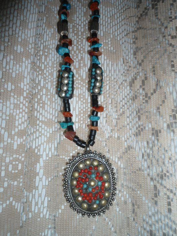 Vintage Beads Pendant Turquoise Tibetan Silver Black Wood Beads Long Necklace Southwest Boho Hippie Steampunk Handmade Ethnic Tribal by LandofBridget