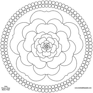 Pearls and roses mandala for June to print and color- PNG version