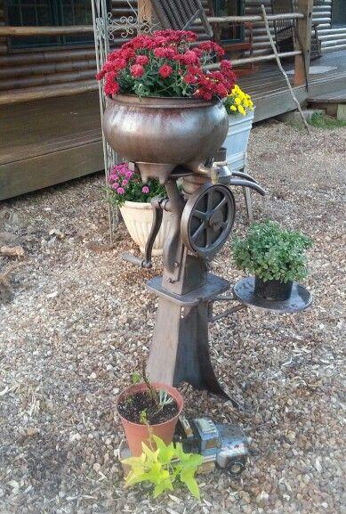 Old cream separator turned landscaping creative ideas for Garden separator