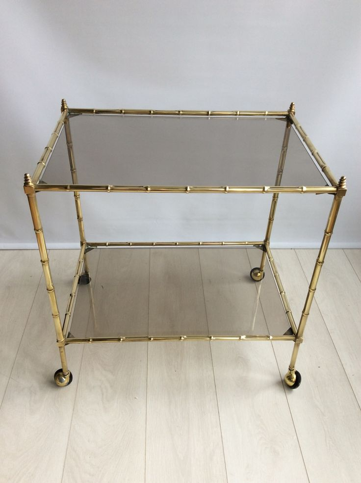 Vintage Italian Brass Bamboo Drinks Trolley