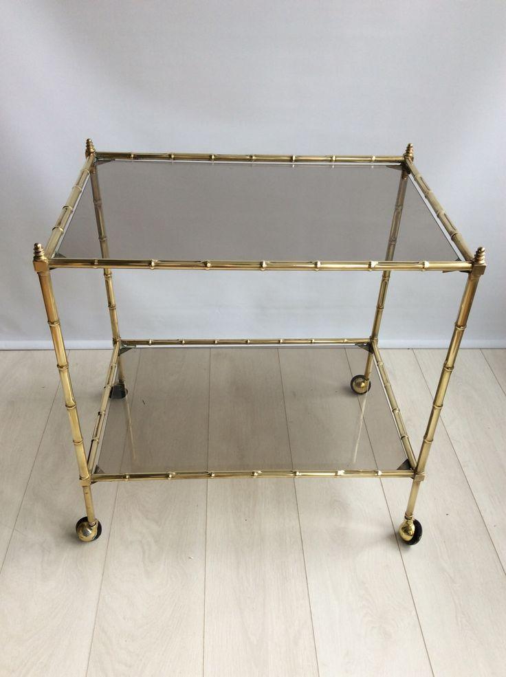 Vintage Italian Brass Bamboo Drinks Trolley