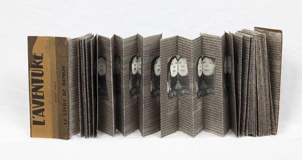 Geta Brătescu, L'aventure. Object book, collage on paper, 16.5 x 500 x 6.5 cm. Courtesy MNAC Bucharest. Photo: Ştefan Sava.
