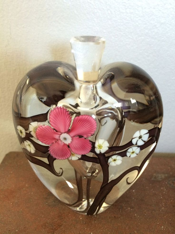Zellique Studio Signed Joseph Morel Perfume Bottle White Pink Flower 2000