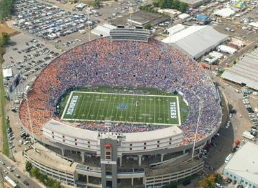 University of Memphis Tigers. Liberty Bowl Memorial Stadium (originally Memphis Memorial Stadium) is a football stadium, located at the Mid-South Fairgrounds, in Midtown Memphis, Tennessee, United States. The stadium is the site of the annual AutoZone Liberty Bowl, and is the home field of the University of Memphis Tigers football team.