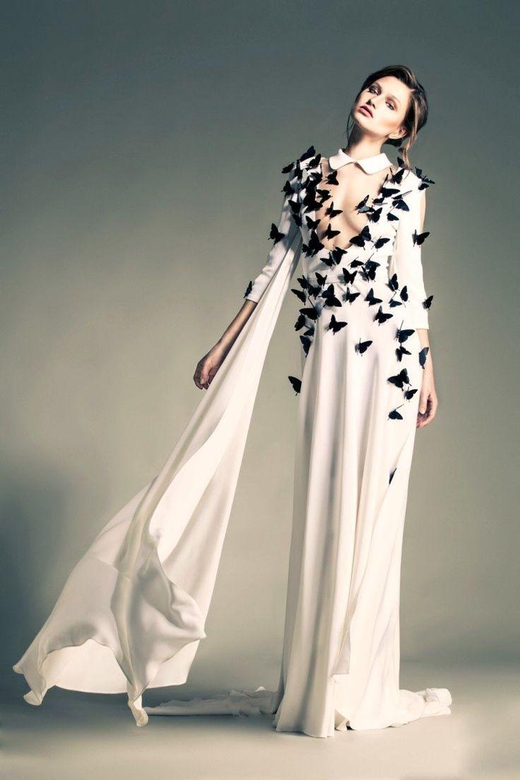 Elie Saab, wedding dress, haute couture, butterflies, wedding, model, romantic, chic, spring jaglady