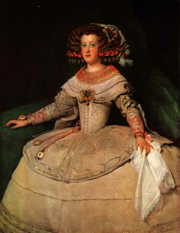 Portrait of the Infanta Maria Teresa future Queen Marie Therese of France - Diego Velazquez. Details to relish; the looped silver decoration on the upper skirt, the spring of the ribbons holding the watch and locket and the hand crumpling the handkerchief. All magical.