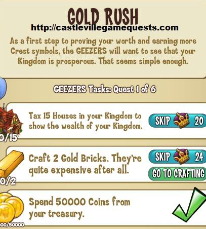 castleville game geezers tasks gold rush guide