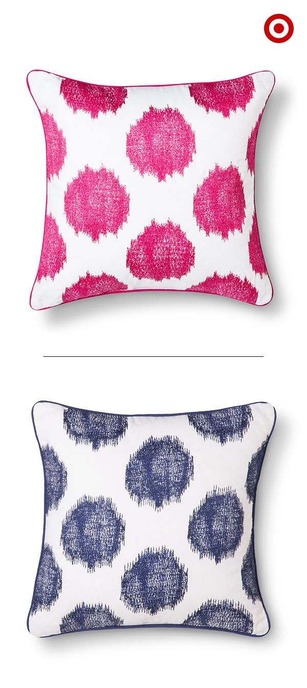 For an instant room refresh, add pops of color with a couple decorative pillows. You can't go wrong with pink and navy—on their own or as a pair, they are totally trending this season.
