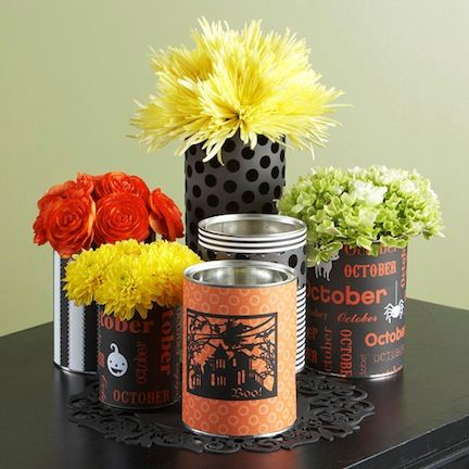 Repurpose cans to make spooky Halloween vases!