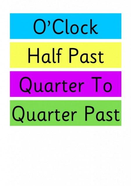 Clock Labels for the Classroom O'Clock, Half Past, Quarter To & Quarter Past.  Simple free teaching resource for an Early Years (EYFS) or Key Stage One (KS1) classroom. Simple labels to print and then laminate for display.