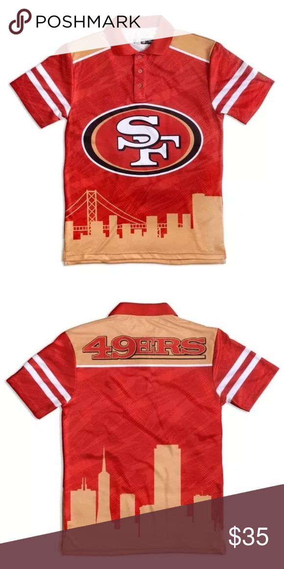 San Francisco 49ers NFL Thematic Polo Shirt This San Francisco 49ers NFL Polyester Thematic Polo Shirt features your favorite team logo across the front and name across the shoulder blades. This officially licensed polo shirt is made from lightweight polyester to keep you cool on hot summer days.  	•	Team logo on front chest  	•	Made by Forever Collectibles 	•	Model: POLO 	•	Made of 100-percent Polyester 	•	Sleeves: Short sleeves 	•	Neckline: Round 	•	Collar: Three button 	•	Type: Apparel…