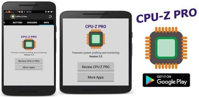 CPU-Z PRO  CPU-Z PRO give you benchmark and hardware specs of your Android deviceCPU-Z PRO is a free utilities app. this app show information about your phone like CPU system device batery and sensor. Feature - Premium Flat Interface - Flat Tab Menu - CPU (processor architecture core etc. ) - DEVICE (model brand board screen resolution ram network type etc. ) - SYSTEM (android version API level kernel Build ID Root Acces etc. ) - BATERY (level% technology health voltage temperature etc. )…