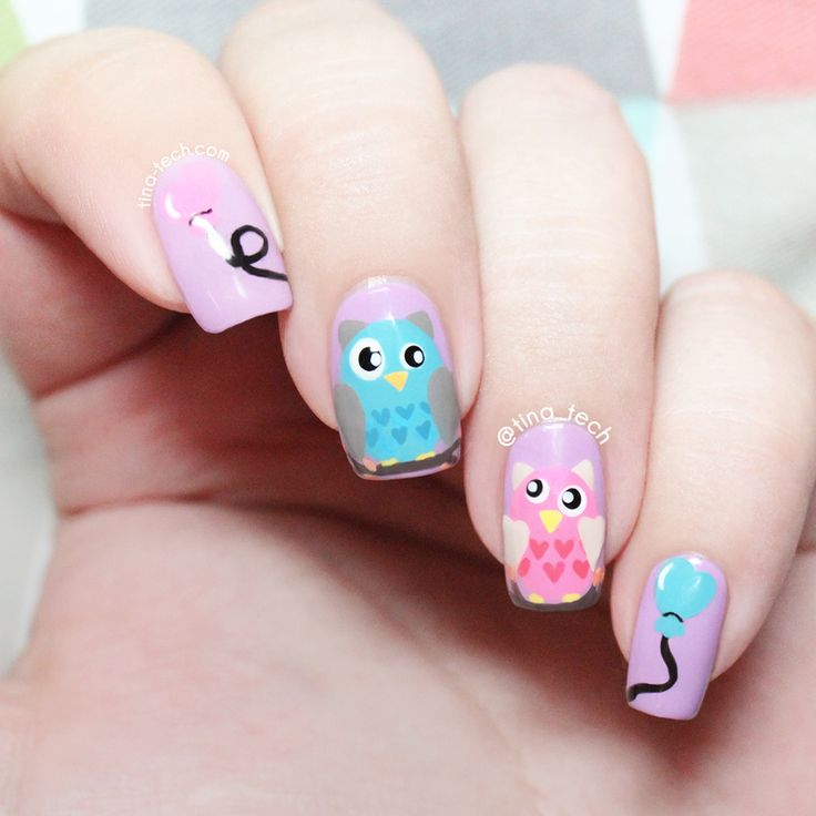 Colorful Owl Nail Art by tina-tech.com