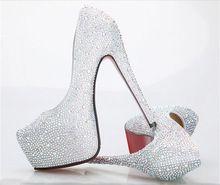 vrouwen hoge hakken 8 kleuren wit zilver blauw rood sexy prom rode onderkant strass vrouwen pompen dames bruiloft schoenen plus maat 33-42(China (Mainland))