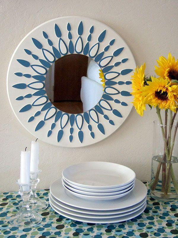 Blauw & wit zonnestraal spiegel