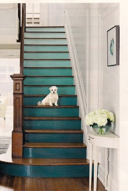 Love the color added to the stairs!