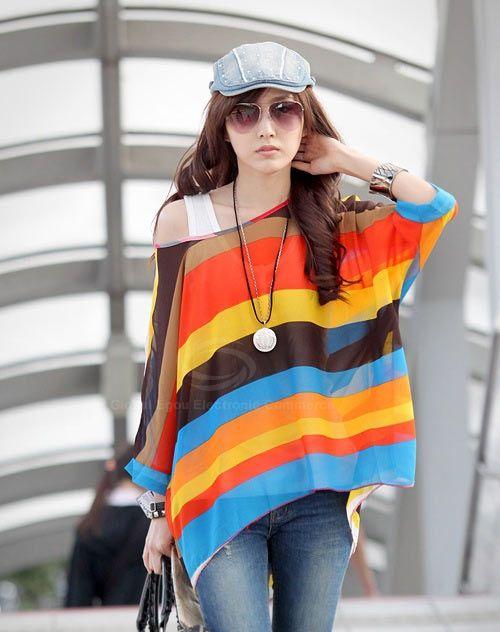 Trendsetter Colorful Stripe Print Asymmetric Batwing Sleeve Summer Blouse For Women  - Sammydress.com