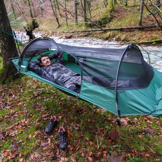 One of the most unique hammocks in existence the BRCH is a super light weight camping hammock tent that is weather resistant, and mosquito free.