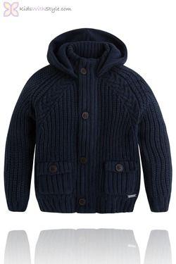 Boys Navy Hooded Cardigan