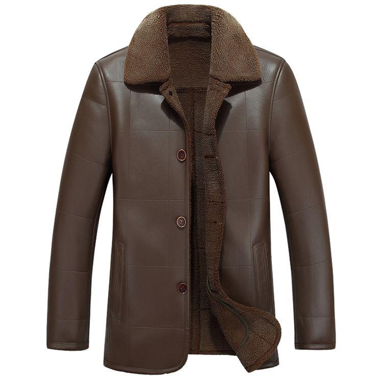 Winter warm motorcycle Leather coat Men's Business Brand Jacket luxury fur sheep leather men's Fur coat  Cuero abrigo de piel