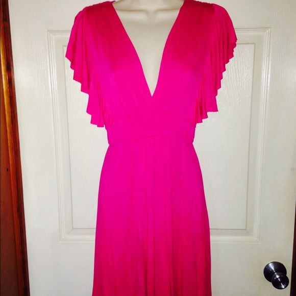 Mod Cloth Fuschia Dress Very pretty, soft material, plunging neckline. Worn twice. Mod Cloth Dresses