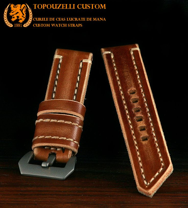 "Topouzelli custom 334 - Curele de ceas din piele lucrate de mana la comanda. Custom watch straps. Veg. tan. leather, "" HD 334"". 125/75/22 mm. Unique work. Authenticity certificate.  Curea de ceas 125/75/22 mm. Model ""HD 334"". Cusatura mixta, cert. autenticitate. Unicat. 99 lei"