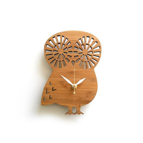 Modern Baby Clock  Owl by decoylab on Etsy, $58.00