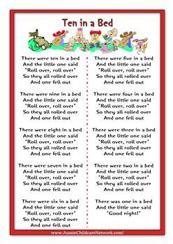 Ten in a Bed Rhymes Worksheets
