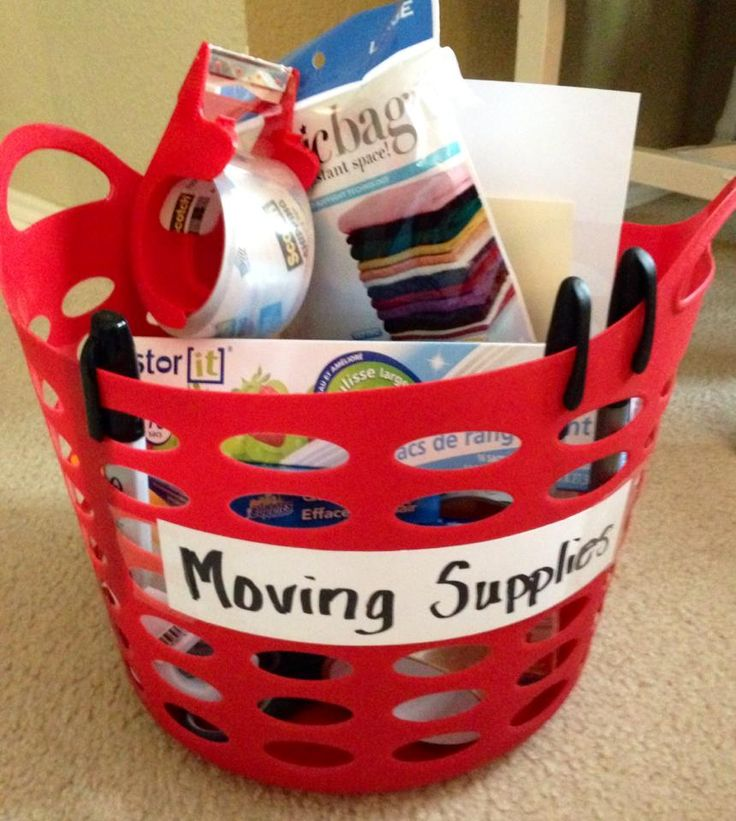Moving Supplies Caddy~Great Idea For Moving Room To Room!! The basket came from Dollar Tree :)
