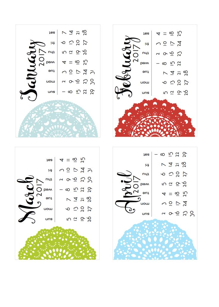 Free Doily 2017 Calendar Cards for Project Life from scrappystickyinkymess