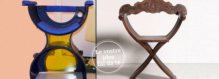 Riciclare per costruire: la sedia, che ci presenta la nostra lettrice Mariangela B., si ispira per la forma a quella di Savonarola e per i colori all'astrattismo De Stijl. Ed è fatta con il cestello di una vecchia lavatrice.