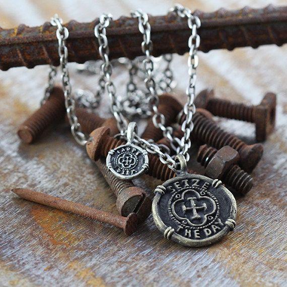 Mens Necklace Gold Carpe Diem Seize the Day Pendant Man