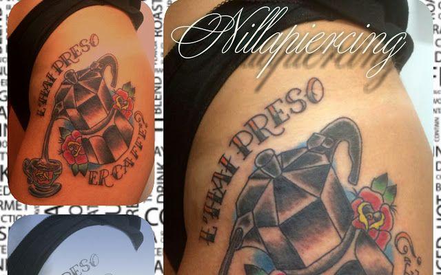 L'hai preso il caffè? By Nilla Piercing  #tattoos #traditionaltattoos #colouredtattoos #coffeetime #moka #caffettino #ospitalita' #cupofcoffee #bodymod #tatuaggiotazzina  #fun #breakfast #goodmorning #tatuaggiroma