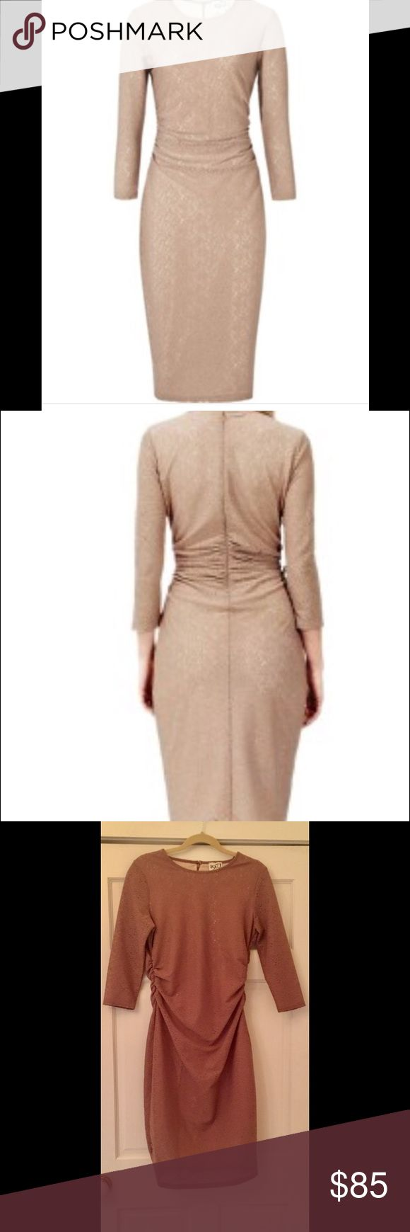 REISS ZOE FITTED RUCHED WAIST ZOE DRESS EUC $495 REISS ZOE FITTED RUCHED WAIST ZOE LONG SLEEVE DRESS SZ 8 $495  In excellent pre-owned condition - worn once Glam up your wardrobe with 1971 Reiss' textured, sheer, dress Set on a neutral base and fastening with a concealed back zip, flattering ruching across the waist adds impact to the body con shape Sz 8 Color: Soft Cappuccino (a flattering, versatile nude/ tan) Material 100% polyester  Neckline: Round  Shape: Bodycon / Fitted ¾ Sleeve…